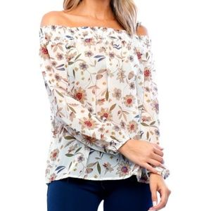 New Timing off the shoulder taupe floral blouse